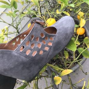 Gray Suede Mary Jane Wedges